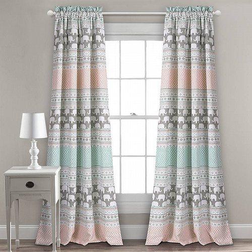 お祝いやプレゼントにも Lush 年中無休 Decor Elephant ストライプ Room Darkening Window Curtain Panels in Turquoise 代引不可 2 Pink 子供部屋 あす楽不可 新作通販 of カーテン L 送料無料 Set 84-inches