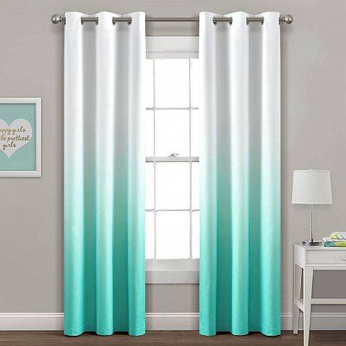 子供部屋 Decor カーテン Curtain 2 Ombre アクア Set Insulated Mia 【送料無料】【代引不可】【あす楽不可】 Window Blackout Grommet Lush Panels of