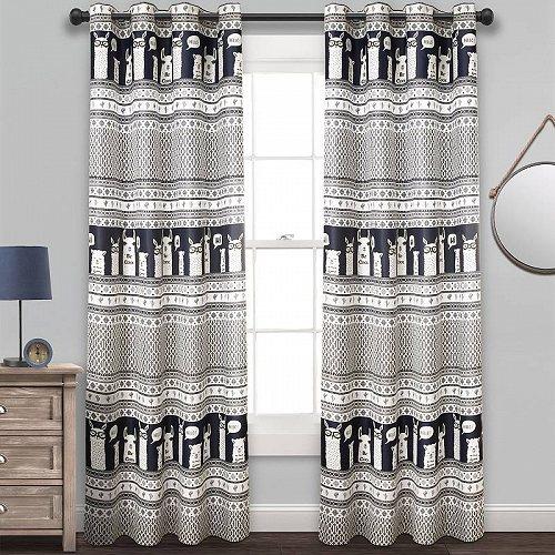 Decor Llama Lush in L Room Window 【送料無料】【代引不可】【あす楽不可】 Panels of カーテン Curtain Navy 子供部屋 2 ストライプ 84-inches Set Darkening