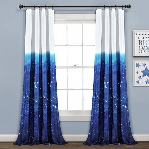 Window Star Wish Make in カーテン 84-inches Space Lush L of Curtain Panels in A /White Ombre 子供部屋 Decor 2 【送料無料】【代引不可】【あす楽不可】 Navy Set