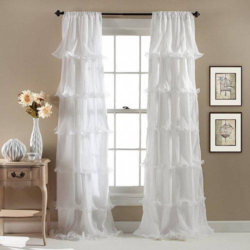 Lush Decor Nerina Ruffle Single Window Panel 84 inches in L White 子供部屋 カーテン 【送料無料】【代引不可】【あす楽不可】