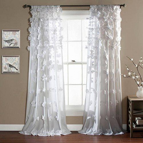 Lush Decor Riley 女の子用 Bedroom Single Curtain Panel 84-inches in L White 子供部屋 カーテン 【送料無料】【代引不可】【あす楽不可】