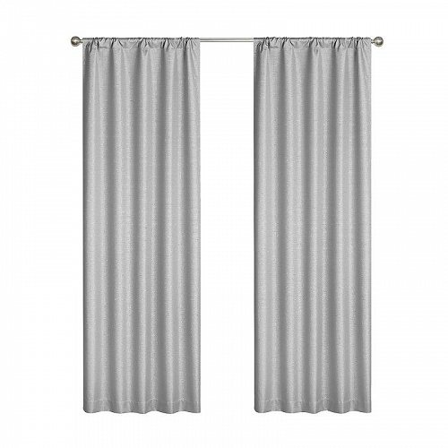 Your Zone キッズ 子供 Solid Sparkle Room Darkening Curtains Single Panel Silver 子供部屋 カーテン 【送料無料】【代引不可】【あす楽不可】