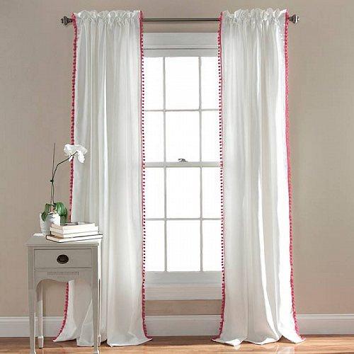 【送料無料】【代引不可】【あす楽不可】 カーテン Panel 84-inches Curtain Decor Pom L 子供部屋 Pom Window Lush / Single Pink White in