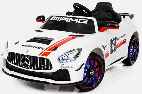 Mercedes-Benz 12V Mercedes GT4 Sport Ride on power electric car For キッズ 子供 with Remote Control LED lights Opening doors MP3 White メルセデス・ベンツ 電動自動車  【送料無料】【代引不可】【不可】