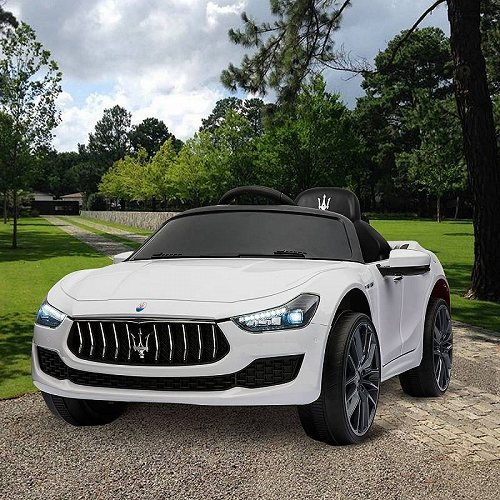 TOBBI 12V キッズ 子供 Ride On Car Maserati License Rechargeable Toy Vehicle W/ Remote Control MP3 LED Lights White ベストチョイスブランド 電動自動車  【送料無料】【代引不可】【あす楽不可】