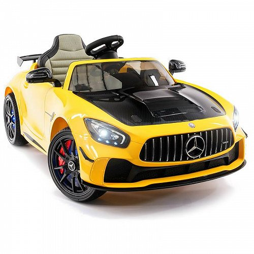Moderno Kids 2020 Mercedes GT AMG 12V Battery Powe Motorized Ride on Toy Car with Built in LCD TV LED Lights 革 シート Yellow メルセデス・ベンツ 電動自動車  【送料無料】【代引不可】【あす楽不可】