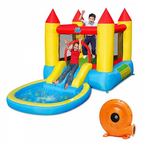 Gymax Inflatable Bounce House キッズ 子供 Slide Jumping Castle Bouncer w/Pool and 580W Blower 大型遊具 バウンス ハウス トランポリン 【送料無料】【代引不可】【不可】