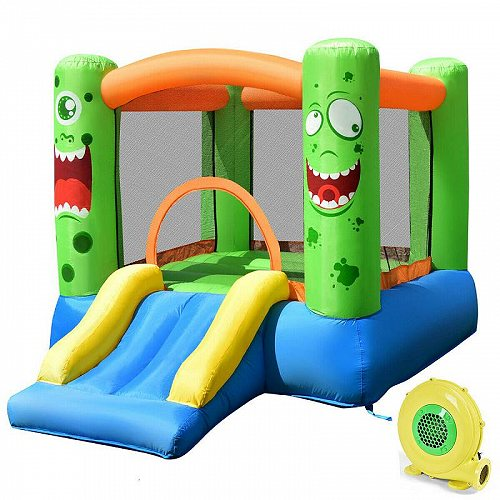 Costway キッズ 子供 Playing Inflatable Bounce House Jumping Castle Game Fun Slider 480W Blower 大型遊具 バウンス ハウス トランポリン 【送料無料】【代引不可】【不可】