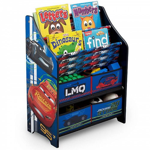 お祝いやプレゼントにも Disney ディズニー Pixar Cars Book Toy Organizer 送料無料 お買得 おもちゃ箱 あす楽不可 ギフ_包装 Delta 代引不可 Children by