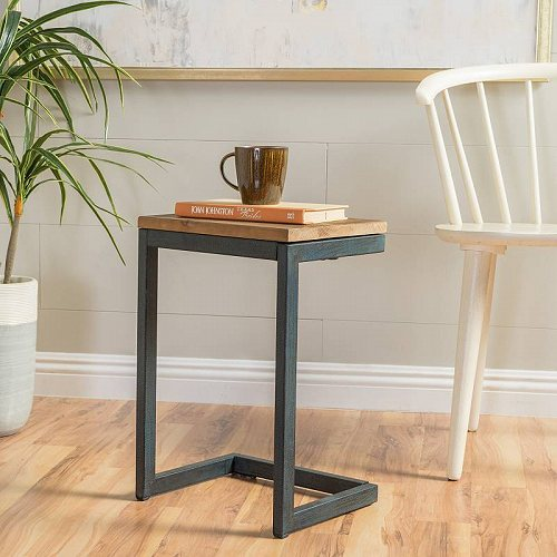 Noble House Edward Small Firwood アンティーク C-Shaped Accent Side Table 家具 木製 サイドテーブル 【送料無料】【代引不可】【あす楽不可】