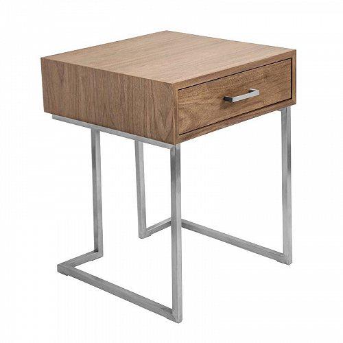 by End LumiSource 【送料無料】【代引不可】【あす楽不可】 in and Roman 家具 Walnut ステアリングスティール Contemporary 木製 Table Wood サイドテーブル