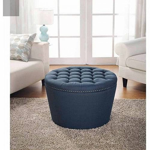 Storage オットマン・コーヒーテーブル Gardens Better Nailheads NAVY Tufted Homes Homes Ottoman Better with 家具 & and 【送料無料】【代引不可】【あす楽不可】 Round Gardens