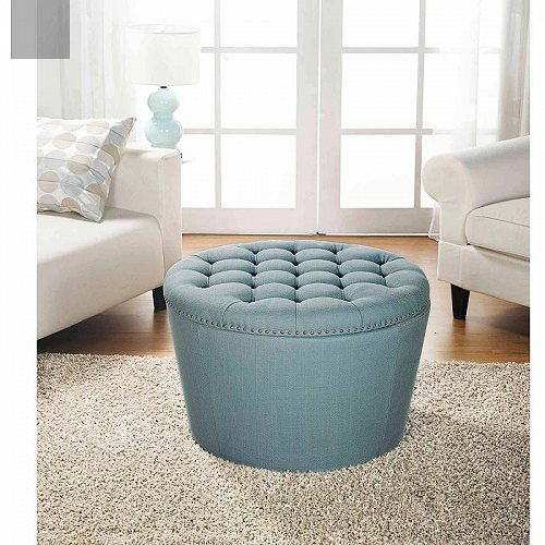 Better 【送料無料】【代引不可】【あす楽不可】 Homes 家具 with Round Ottoman and Gardens Homes Gardens Nailheads Tufted & Better オットマン・コーヒーテーブル Teal Storage