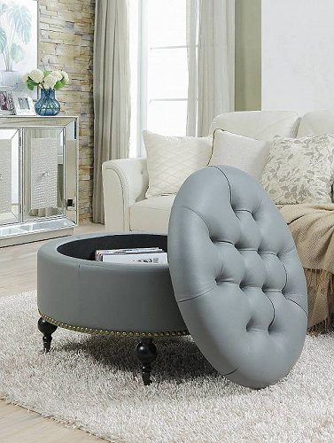 Round Hidden Storage Tufted 家具 Button 【送料無料】【代引不可】【あす楽不可】 革 Home Ottoman PU Chic with Contemporary Gray Grey Legs Modern Keller オットマン Nailhead Castered Trim Gold