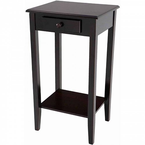 Home Craft End Table/Night Stand with Drawer in Multiple Colors Black 家具 木製 サイドテーブル 【送料無料】【代引不可】【あす楽不可】