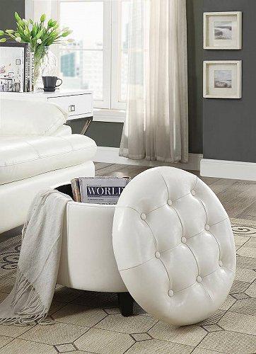 White 【送料無料】【代引不可】【あす楽不可】 家具 Concepts オットマン・コーヒーテーブル Round Convenience Designs4Comfort Ottoman