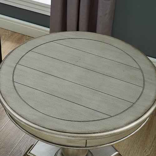 Roundhill Furniture Rene Round Wood Pedestal Side Table White 家具 木製 サイドテーブル 【送料無料】【代引不可】【あす楽不可】
