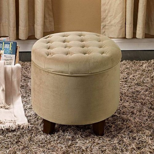 HomePop Tufted Round Ottoman with Storage ple Colors Off-White 家具 オットマン・コーヒーテーブル 【送料無料】【代引不可】【あす楽不可】