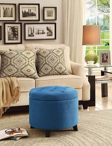 Convenience Concepts Designs4Comfort Round Ottoman Blue Fabric 家具 オットマン・コーヒーテーブル 【送料無料】【代引不可】【あす楽不可】