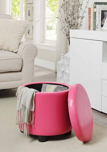 Convenience Concepts Designs4Comfort Round Accent Storage Ottoman Pink Faux 革 家具 オットマン・コーヒーテーブル 【送料無料】【代引不可】【あす楽不可】