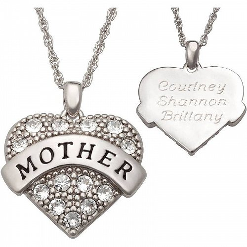Personalized Planet Family ジュエリー 宝飾品 Personalized クリスタル Rhodium-Plated Mother ハート Pendant オリジナル・名入れ【送料無料】【代引不可】【不可】