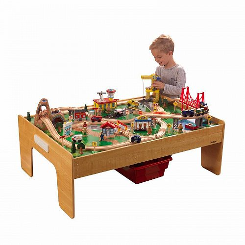 KidKraft キッズクラフト Adventure Town Railway Wooden Train Set & Table with EZ Kraft Assembly with 120 accessories included 大型 ドールハウス・ごっこ遊び【送料無料】【代引不可】【あす楽不可】