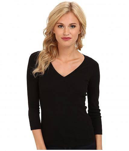 スリードッツ Three Dots レディース 女性用 ファッション Tシャツ 100% Cotton Heritage Knit 3/4 Sleeve Deep V-Neck - Black