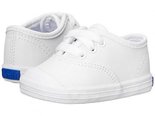 送料無料 ケッズ Keds Kids 女の子用 ベビー靴 キッズシューズ 子供靴 クリッブ Champion Lace Toe Cap 2 (Infant) - White Leather