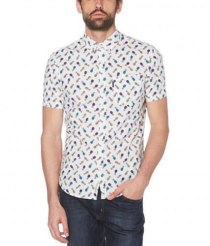 オリジナルペンギン Original Penguin メンズ 男性用 ファッション ボタンシャツ Pineapple Print Short Sleeve Button-Down Shirt - Bright White