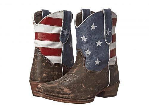 日本未発売 セール品 海外ブランドの靴 スニーカー バッグ 子供服 鞄 100%品質保証! 水着など取り扱い多数 プレゼントやお祝いにも 送料無料 ローパー Roper ブーツ Flag Brown Shorty - WEB限定 靴 レディース 女性用 American ウエスタンブーツ シューズ