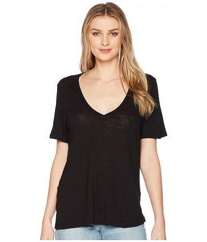 送料無料 スプレンデッド Splendid レディース 女性用 ファッション Tシャツ Everly Short Sleeve Cotton Modal Slub V-Neck Tee - Black