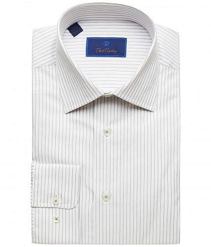 送料無料 David Donahue メンズ 男性用 ファッション ボタンシャツ Regular Fit Striped Dress Shirt - White/Gray