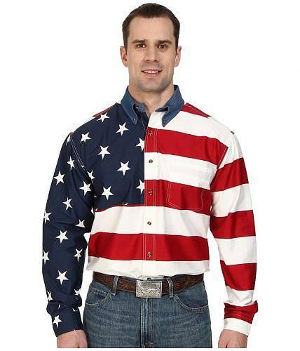 送料無料 ローパー Roper メンズ 男性用 ファッション ボタンシャツ Stars & Stripes Pieced Flag Shirt L/S - Red