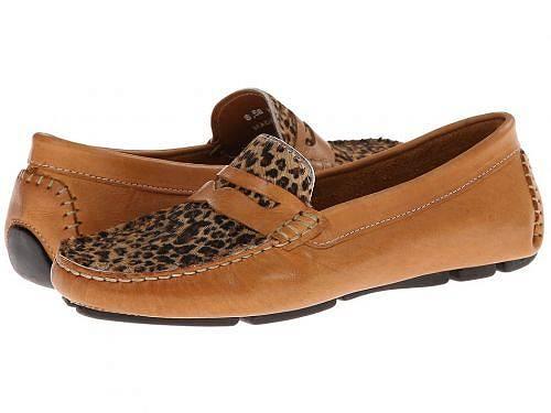 送料無料 マッシオマッテオ Massimo Matteo レディース 女性用 シューズ 靴 ローファー ボートシューズ Penny with Cheeta Vamp - Tan Bison/Cheeta