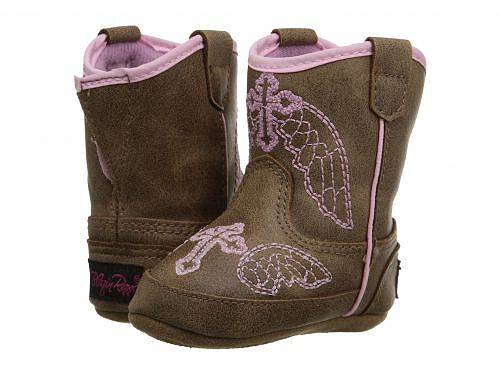 M&F Western Kids 女の子用 キッズシューズ 子供靴 ブーツ ウエスタンブーツ Baby Bucker Gracie (Infant/Toddler) - Brown/Pink