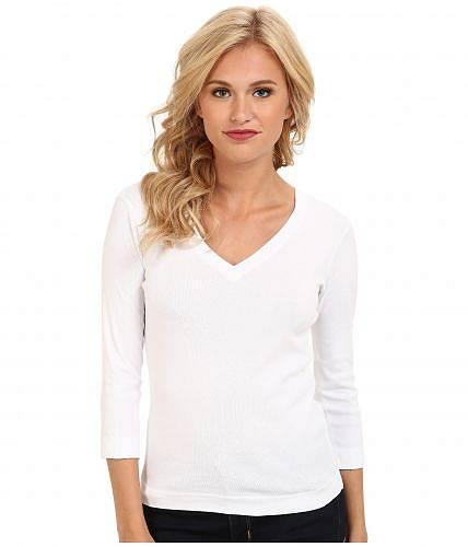 スリードッツ Three Dots レディース 女性用 ファッション Tシャツ 100% Cotton Heritage Knit 3/4 Sleeve Deep V-Neck - White