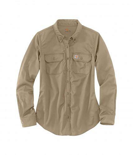 カーハート Carhartt レディース 女性用 ファッション ボタンシャツ Flame-Resistant Rugged Flex Twill Shirt - Khaki