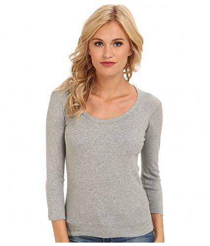 スリードッツ Three Dots レディース 女性用 ファッション Tシャツ 100% Cotton Heritage Knit 3/4 Sleeve Scoop Neck - Granite