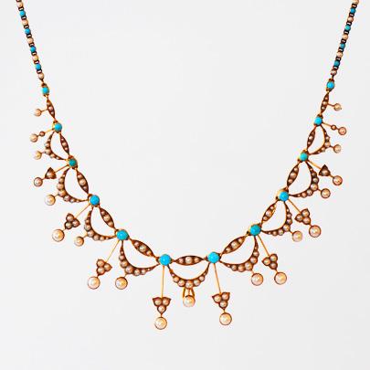 ゴールド パール ターコイズネックレス Necklaces レディース ジュエリー