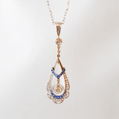 プラチナ ダイヤ サファイア クリスタルペンダント Necklacesレディース ジュエリー