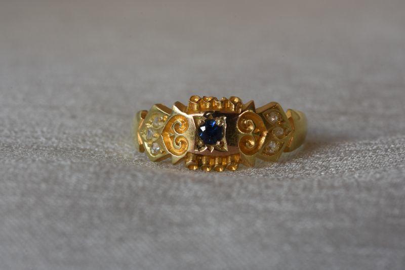 グッドウィル アンティーク ジュエリー 15ct サファイア ダイヤモンド リング 指輪