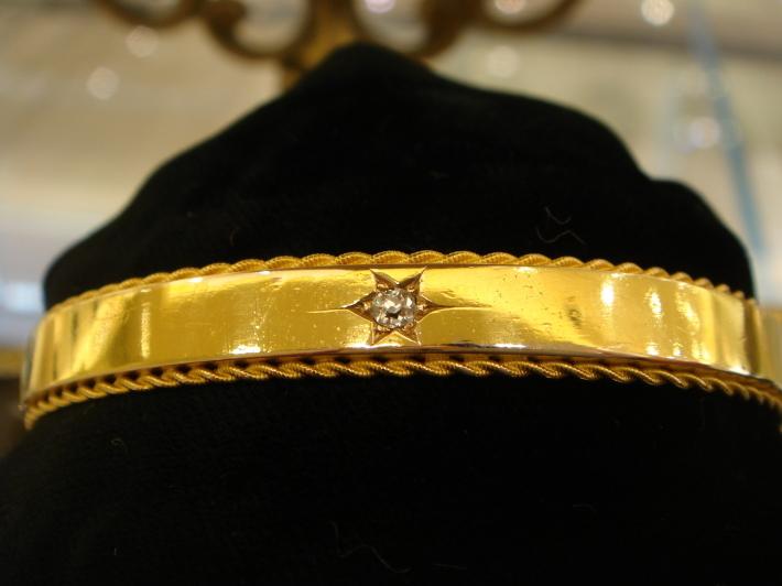 グッドウィル アンティーク ジュエリー 15ct ダイヤモンド バングル ブレスレット