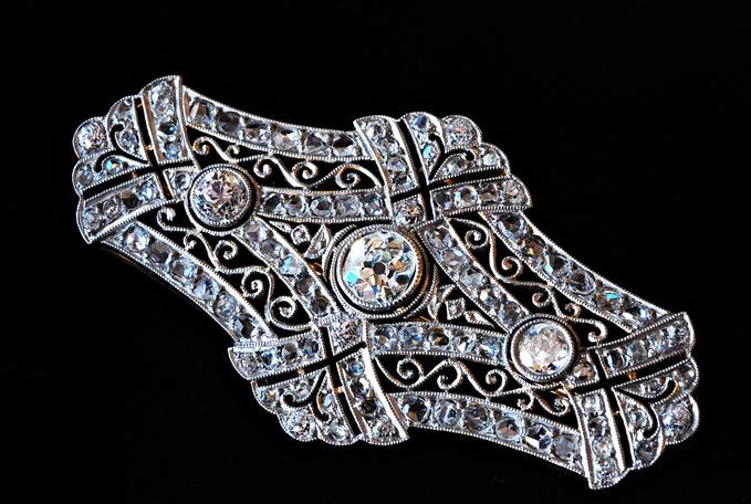 グッドウィル アンティーク ジュエリー ゴールド プラチナ ダイヤモンドブローチ 装飾品 エドワーディアン