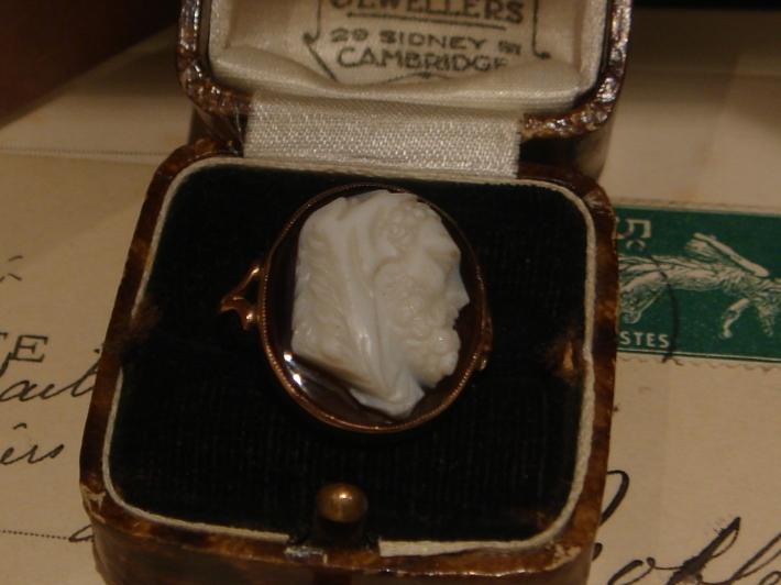 アンティークジュエリー 9ct ストーンカメオ リング 指輪 レディース メンズ