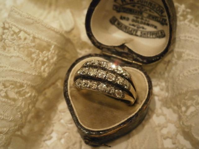 アンティークジュエリー ゴールド sv ダイヤモンドリング 指輪 レディース