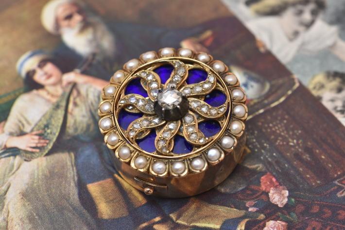 アンティーク ジュエリー ゴールドダイヤモンドグラス パール ペンダント ネックレス レディース