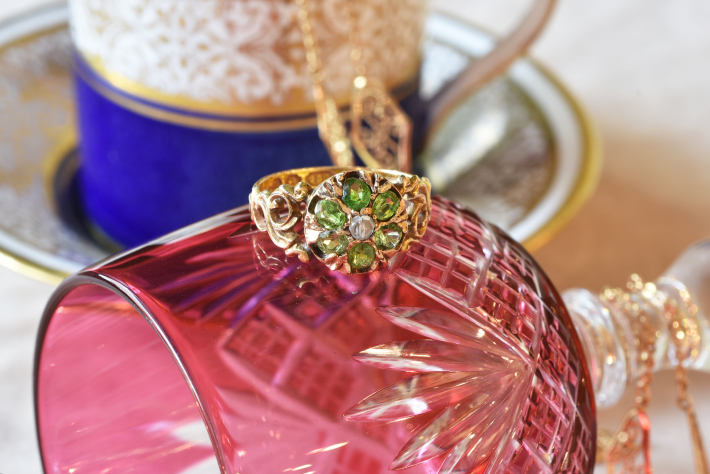 アンティークジュエリー リング 15ct デマインドイト ガーネット ダイヤモンド 指輪 レディース