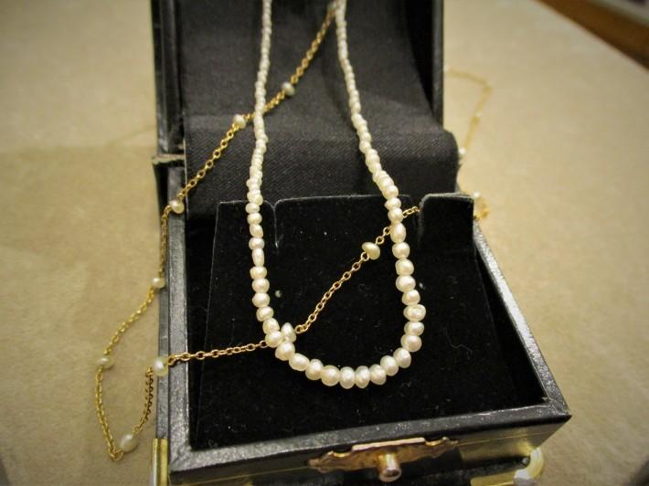 アンティークジュエリー ゴールド パールネックレス ネックレス レディース 真珠