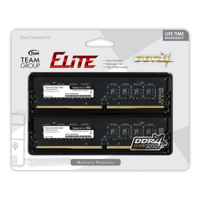 新製品 TEAM TED432G3200C22DC01 DDR4-3200 16GB x 2枚組 デスクトップ用メモリ ELITEシリーズ DDR4-3200 ネイティブモデル